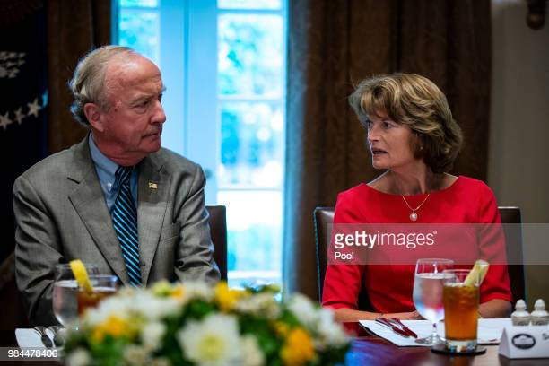 S Sen Lisa Murkowski and RepRodney Frelinghuysen attend a lunch meeting for Republican lawmakers in the Cabinet Room at the White House June 26 2018...