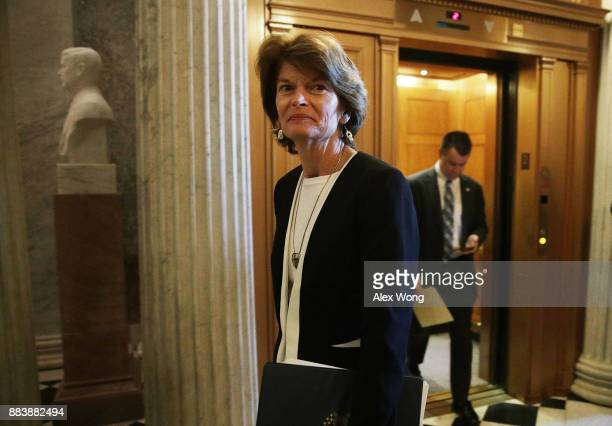 S Sen Lisa Murkowski arrives for a vote at the Capitol December 1 2017 in Washington DC Senate GOPs indicate that they have enough votes to pass the...