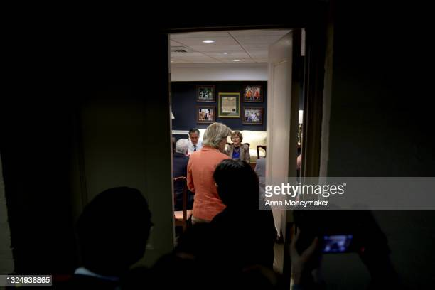 Sen. Lisa Murkowski arrives to a closed door meeting on infrastructure between White House officials and a bipartisan group of Senators on June 22,...