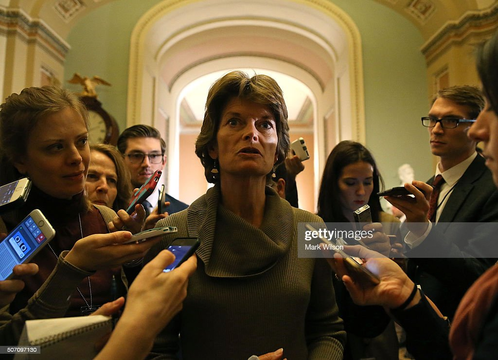 Sen. Lisa Murkowski (R-AK), chairman of the Senate Energy and Natural Resources Committee, speaks to the media after theÊweekly Senate Policy Luncheon on Capitol Hill January 27, 2016 in Washington, DC. The Senators discussed the comprehensive energy legislation that is before the Senate.