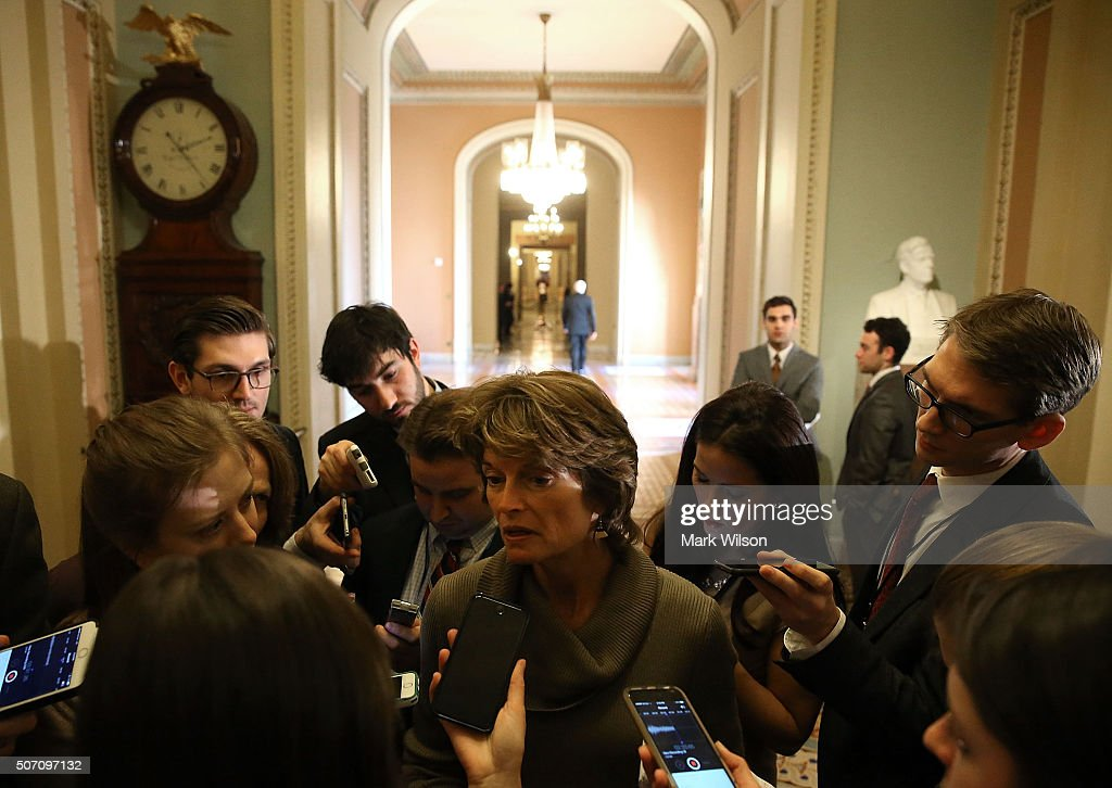 Sen. Lisa Murkowski (R-AK), chairman of the Senate Energy and Natural Resources Committee, speaks to the media after the weeklyÊSenate Policy Luncheon on Capitol Hill January 27, 2016 in Washington, DC. The Senators discussed theÊcomprehensive energy legislation that is before the Senate.