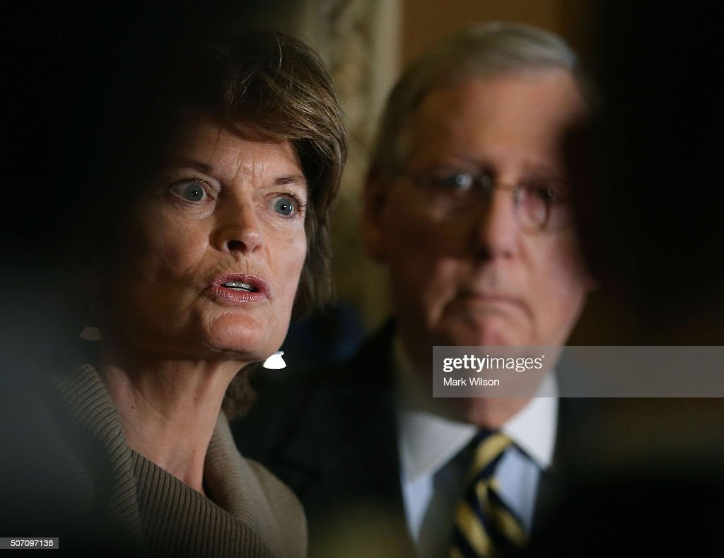 Sen. Lisa Murkowski (R-AK), chairman of the Senate Energy and Natural Resources Committee, speaks to the media while flanked by Senate Majority Leader Mitch McConnell (R-KY) after the weekly Senate Policy Luncheon on Capitol Hill January 27, 2016 in Washington, DC. The Senators discussed the comprehensive energy legislation that is before the Senate.