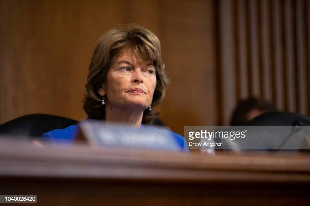 Sen Lisa Murkowski chairs a hearing of the Senate Energy and Natural Resources Committee on Capitol Hill September 25 2018 in Washington DC Christine...