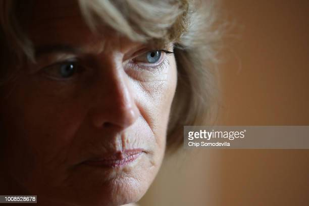 Sen Lisa Murkowski is interviewed following the GOP weekly policy luncheon at the US Capitol July 31 2018 in Washington DC Senators are reacting to...