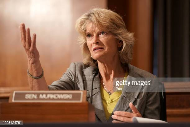 Sen. Lisa Murkowski is seen during a Senate Health, Education, Labor, and Pensions Committee hearing to discuss vaccines and protecting public health...