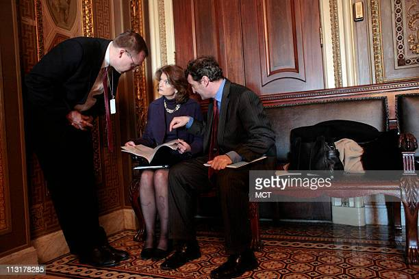US Sen Lisa Murkowski is shown with staff members on Capitol Hill in Washington DC on March 3 2009