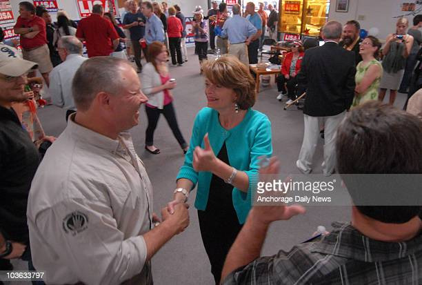 Sen Lisa Murkowski is welcomed by supporters as she arrives at her campaign headquarters in Anchorage Alaska after the polls closed Tuesday evening...