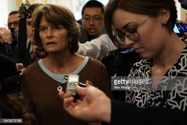 S Sen Lisa Murkowski leaves after a meeting in the office of Senate Majority Leader Sen Mitch McConnell September 28 2018 at the US Capitol in...