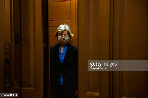 Sen. Lisa Murkowski leaves the Senate floor at the US Capitol building on December 20, 2020 in Washington, DC. Republicans and Democrats in the...