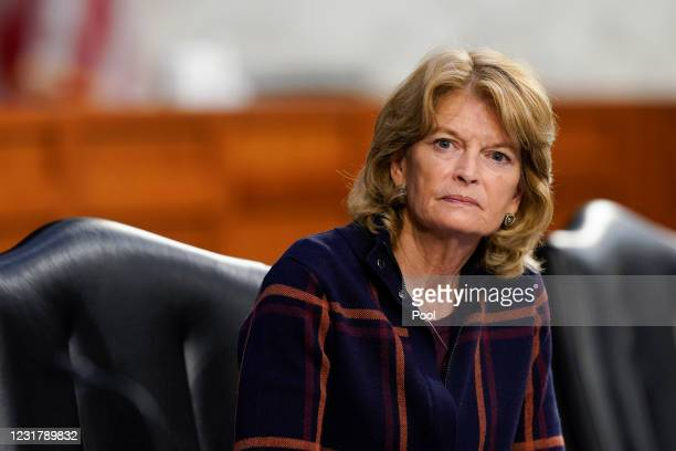 Sen. Lisa Murkowski listens during a Senate Health, Education, Labor and Pensions Committee hearing on the federal coronavirus response on Capitol...