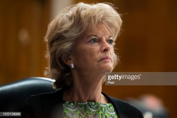 Sen. Lisa Murkowski looks on during the US Senate Health, Education, Labor, and Pensions Committee hearing to examine COVID-19, 'focusing on lessons...