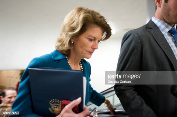 Sen Lisa Murkowski RAK makes her way to the Senate policy luncheons through the Senate subway in the US Capitol on September 17 2013