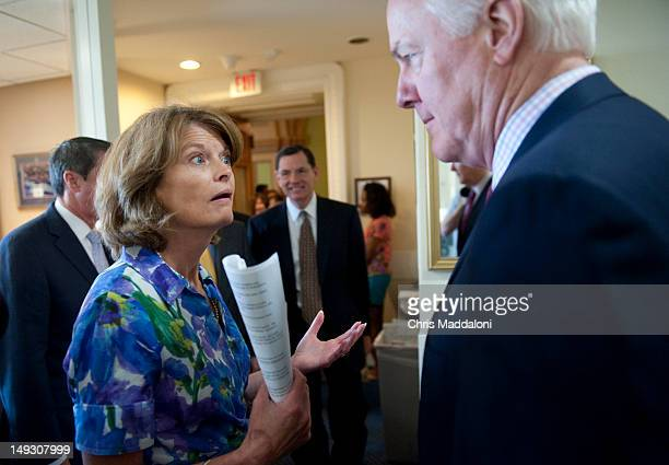 Sen Lisa Murkowski RAlaska and Sen John Cornyn speak before a news conference to unveil domestic energy and jobs legislation