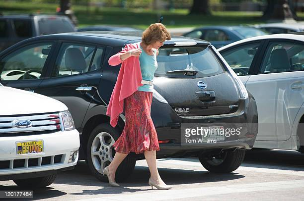 Sen Lisa Murkowski RAlaska makes her way to the Capitol on Sunday when the Senate convened in attempt to reach an agreement on raising the debt...
