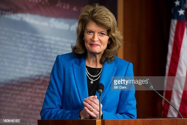 Sen Lisa Murkowski RAlaska ranking member on the Senate Energy and Natural Resources Committee holds a news conference to discuss the release of the...