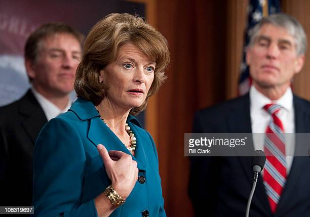 Sen. Lisa Murkowski, R-Alaska, speaks during a news conference on ending the practice of sitting divided by party during the president's State of the...
