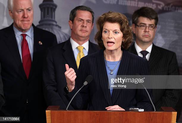 S Sen Lisa Murkowski speaks as Sen John Cornyn Sen David Vitter and Rep Lee Terry listen during a news conference March 22 2012 on Capitol Hill in...