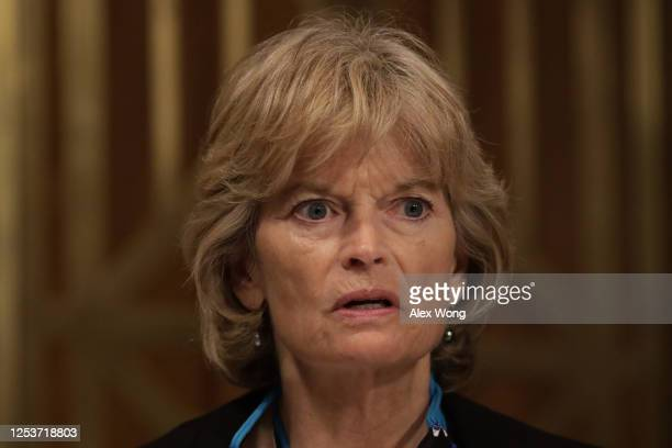 Sen. Lisa Murkowski speaks during a hearing before Senate Indian Affairs Committee at Dirksen Senate Office Building July 1, 2020 on Capitol Hill in...