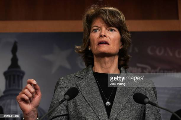 S Sen Lisa Murkowski speaks during a news conference at the Capitol March 21 2018 in Washington DC Senate Republicans held a news conference to...