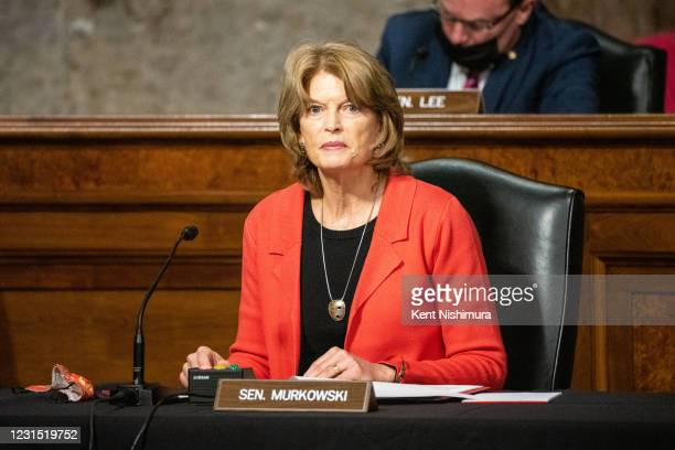 Sen. Lisa Murkowski speaks during the Senate Energy and Natural Resources Committee business meeting to vote on sending the nomination of Rep. Deb...