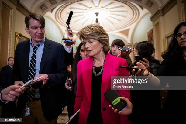 Sen. Lisa Murkowski speaks to reporters as she leaves the weekly Senate Republican policy luncheon at the U.S. Capitol on January 14, 2020 in...