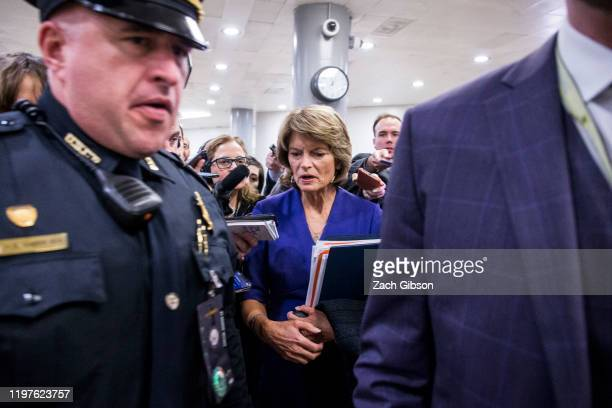 Sen. Lisa Murkowski speaks to reporters in the Senate basement at the U.S. Capitol as the Senate impeachment trial of U.S. President Donald Trump...