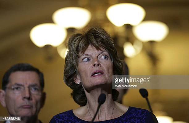 Sen. Lisa Murkowski speaks to reporters outside the Senate chamber following a luncheon for Republican members of the Senate January 27, 2015 in...