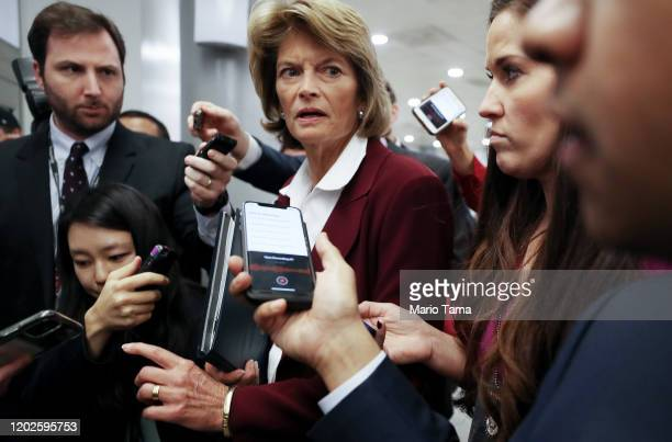 Sen. Lisa Murkowski speaks to reporters while departing the U.S. Capitol after the Senate impeachment trial adjourned for the day on January 28, 2020...