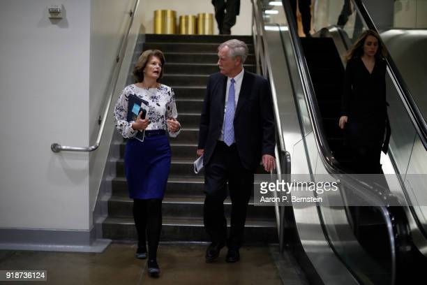 Sen Lisa Murkowski speaks with Sen Angus King on Capitol Hill on February 15 2018 in Washington DC The Senate failed to pass an immigration fix...