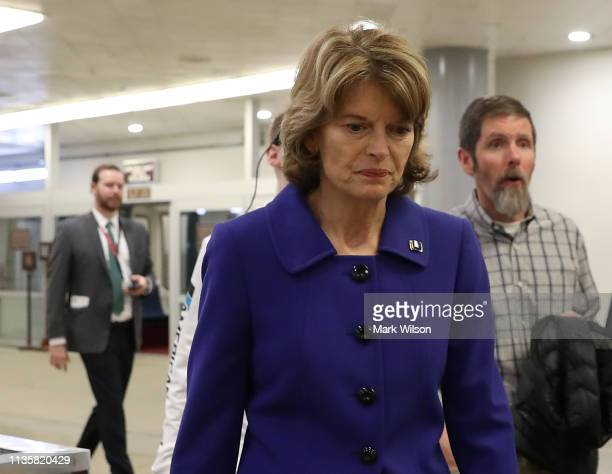 Sen. Lisa Murkowski walks through the U.S. Capitol prior to the Senate voting to overturn the President's national emergency border declaration, at...