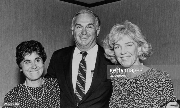 Sen Lowell P Weicker RConn with wife Claudia Weicker and Mary Audrey Mellor at Stafferd Tribute on June 5 1986