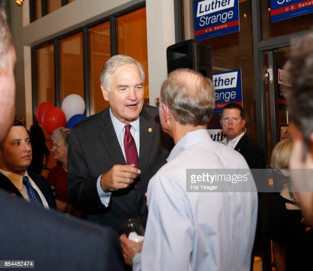 Sen Luther Strange greets supporters as he leaves after making his concession speech after losing to Roy Moore in a GOP runoff election on September...