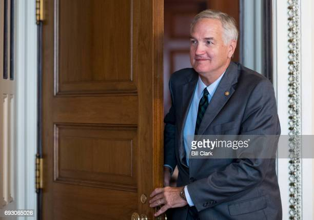 Sen Luther Strange RAla leaves the Senate Republicans' policy lunch in the US Capitol on Tuesday June 6 2017