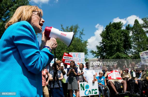 Sen Maggie Hassan DNH speaks during the Senate Democrats' rally against Medicaid cuts in front of the US Capitol on Tuesday June 6 2017