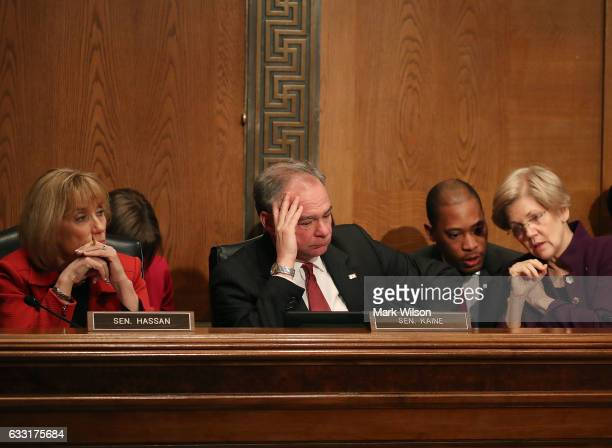 Sen Maggie Hassan Sen Tim Kaine and Sen Elizabeth Warren participate in a Senate Health Education Labor and Pensions committee hearing on Capitol...