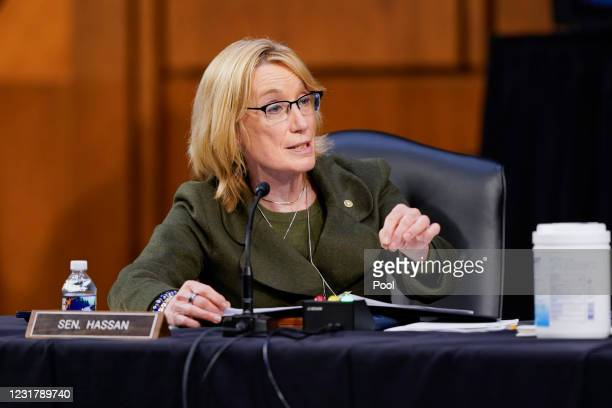 Sen. Maggie Hassan speaks during a Senate Health, Education, Labor and Pensions Committee hearing on the federal coronavirus response on Capitol Hill...