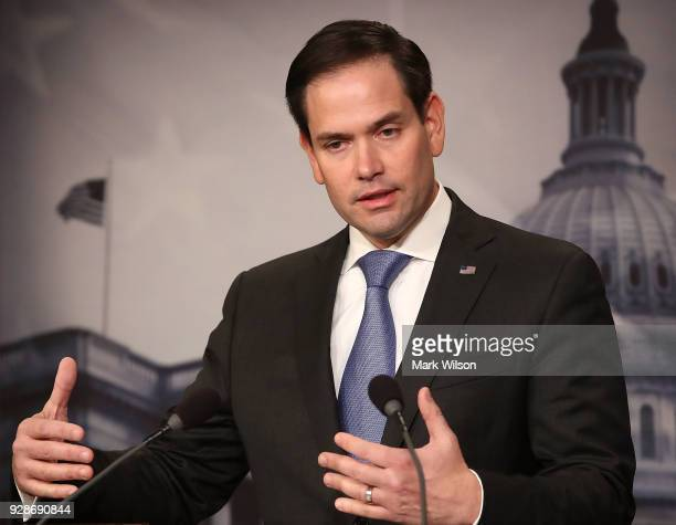 S Sen Marco Rubio along with Sen Bill Nelson speak to the media while unveiling legislation on gun violence restraining orders in the wake of the...