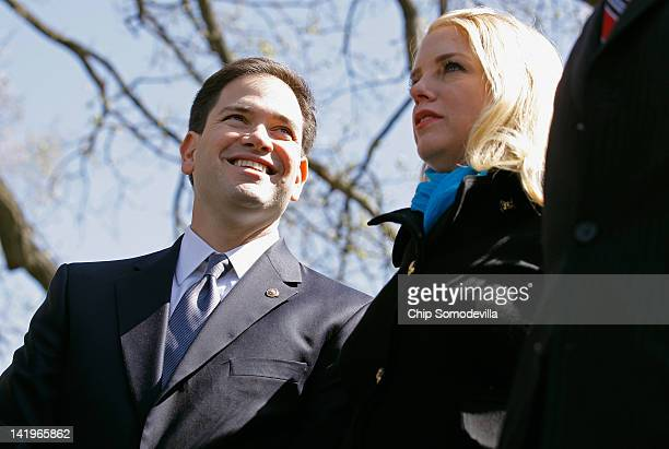 Sen Marco Rubio and Florida Attorney General Pam Bondi participate in a news conference about the Supreme Court's second day of hearings on the...