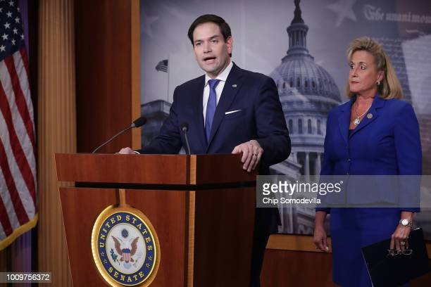 Sen Marco Rubio and Rep Ann Wagner hold a news conference about their proposed paid family leave bills during a news conference at the US Capitol...