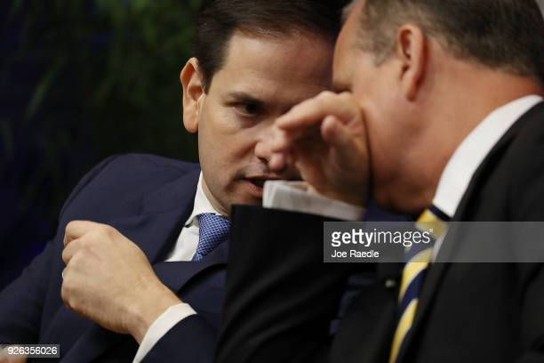 Sen Marco Rubio and Rep Mario DiazBalart are seen as they join United States Ambassador to the United Nations Nikki Haley to speak to an audience...