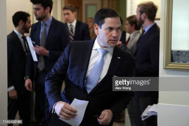 S Sen Marco Rubio arrives at a news conference at the US Capitol April 4 2019 in Washington DC Lawmakers are unveiling bipartisan legislation that...