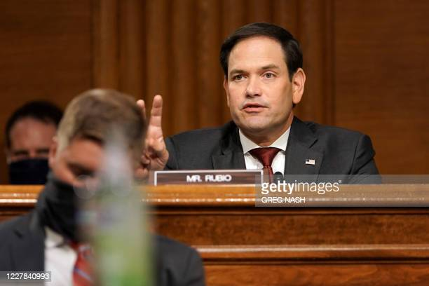 Sen Marco Rubio asks a question to Secretary of State Mike Pompeo as he testifies during a Senate Foreign Relations committee hearing on the State...