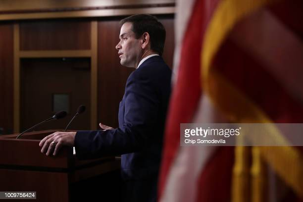 Sen Marco Rubio hold a news conference about his and Rep Ann Wagner's proposed paid family leave bills during a news conference at the US Capitol...