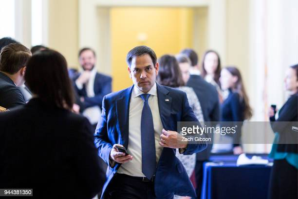 Sen Marco Rubio leaves a weekly policy luncheon with Republican lawmakers on Capitol Hill on April 10 2018 in Washington DC Senate lawmakers...
