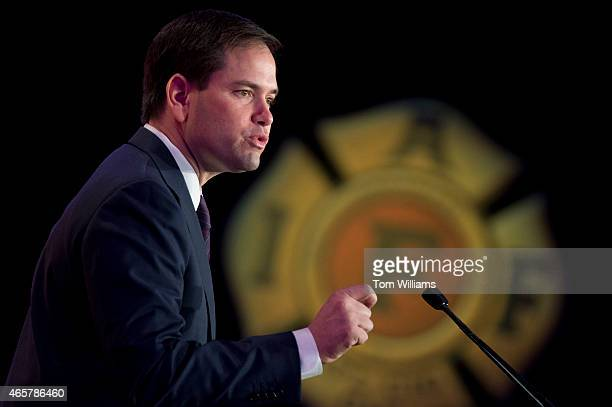 Sen Marco Rubio RFla speaks during the International Association of Fire Fighters Presidential Forum at the Hyatt Regency on Capitol Hill March 10...