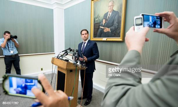 Sen Marco Rubio RFla speaks to reporters in the Capitol on Tuesday Sept 26 about hurricane disaster relief for Puerto Rico in the wake of Hurricane...