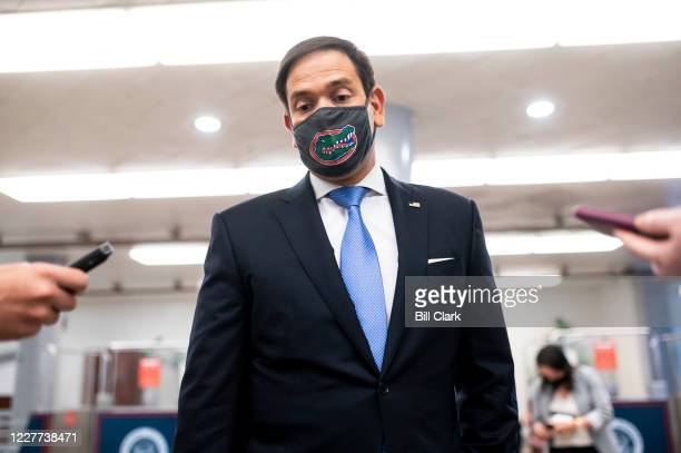Sen Marco Rubio RFla speaks to reporters in the Senate subway as he leaves the Capitol after a vote on Wednesday July 22 2020