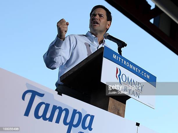 S Sen Marco Rubio speaks during a campaign rally for Republican presidential candidate former Massachusetts Gov Mitt Romney at Tampa International...
