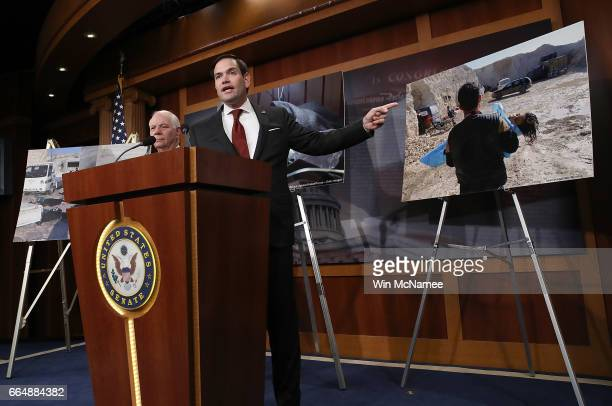 Sen Marco Rubio speaks during a press conference at the US Capitol April 5 2017 in Washington DC Rubio and Sen Ben Cardin spoke out on reports of the...