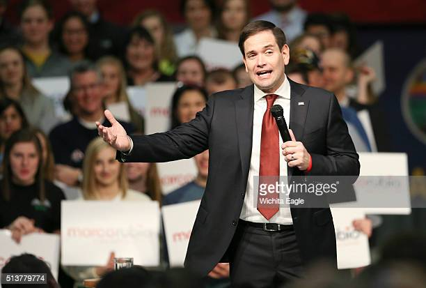 Sen Marco Rubio speaks to 1000 people gathered on the eve of the Kansas caucus in a hangar at Jabara Airport on March 4 2016 in Wichita Kan It was...